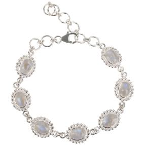 Armband 925 Sterling Silber Regenbogenmondstein