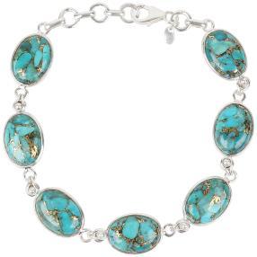 Armband 925 Sterling Silber Türkis stabilisiert