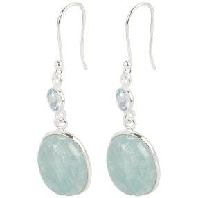 Ohrhänger 925 Sterling Silber, Aquamarin/Blautopas
