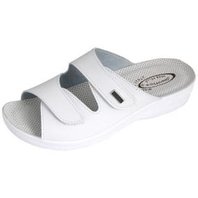 Saniflex Damen Klett-Pantolette weiß, gepolstert