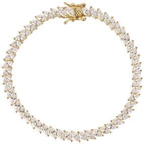Tennis-Armband 925 Silber vergoldet, Zirkonia