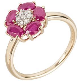 Ring 585 Gelbgold Rubin, Diamanten