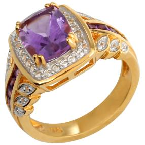Ring 925 Sterling Silber vergoldet Amethyst