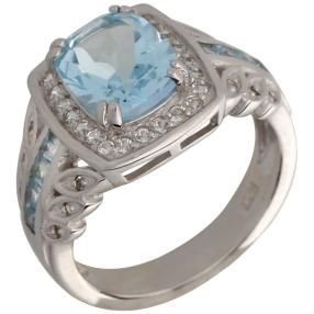 Ring 925 Sterling Silber, Sky Blue Topas beh.
