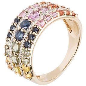 Ring 585 Gelbgold Saphir multicolor