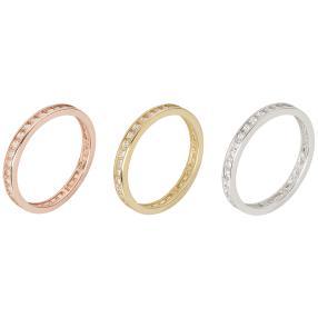 Set 3 Ringe 925 Sterling Silber tricolor Zirkonia