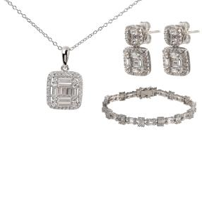 Set 3 teilig 925 Silber rhodiniert, Zirkonia