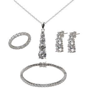 Set 5 teilig 925 Silber rhodiniert,  Zirkonia