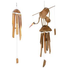 Darimana Windspiele Bambus&Vogel, 2er-Set