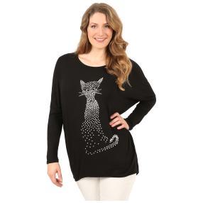 ManouLenz Oversize Shirt 'Smart Cat' schwarz