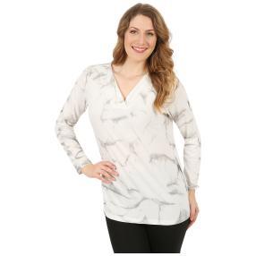 ManouLenz Shirt 'Batik' weiß/grau/taupe