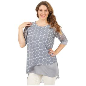 ManouLenz Bluse 'Double Dots' grau