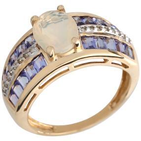 Ring 585 Gelbgold Äthiopischer Opal, Tansanit