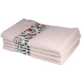 Handtuch Rosen, 4er-Set, rosé, 50x100cm