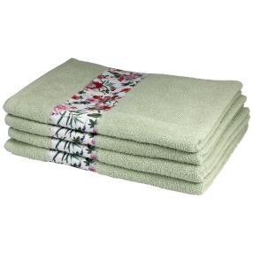 Handtuch Rosen, 4er-Set, grün, 50x100cm