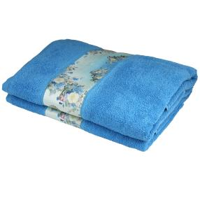 Duschtuch mit Bordüre, 2er-Set,  blau, 70x140cm