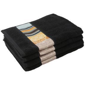 Handtuch mit Bordüre, 4er-Set, schwarz, 50x100cm