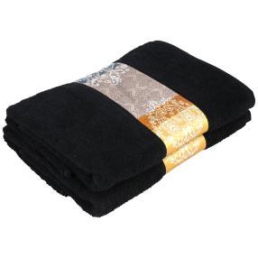 Duschtuch mit Bordüre, 2er-Set,  schwarz, 70x140cm