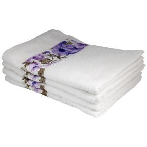Handtuch mit Bordüre, 4er-Set, weiß, 50x100cm