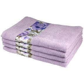 Handtuch mit Bordüre, 4er-Set, flieder, 50x100cm