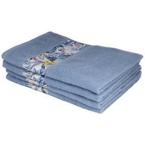 Handtuch mit Bordüre, 4er-Set, blau, 50x100cm