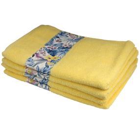 Handtuch mit Bordüre, 4er-Set, gelb, 50x100cm