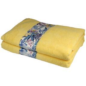 Duschtuch mit Bordüre, 2er-Set, gelb, 70x140cm