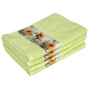 Handtuch Sonnenblume, 4er-Set, grün, 50x100cm