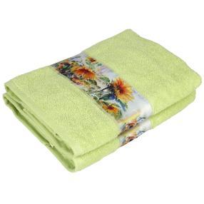 Duschtuch Sonnenblume, 2er-Set, grün, 70x140cm