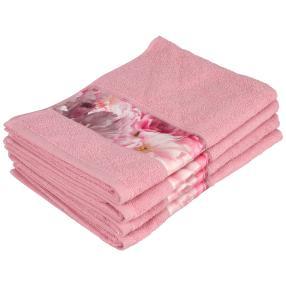 Handtuch Blume, 4er Set, rosé, 50 x 100 cm