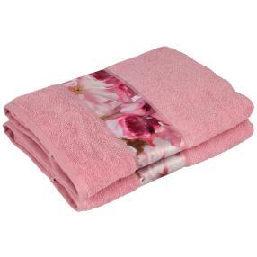 Duschtuch Blume, 2er Set, rosé, 70 x 140 cm