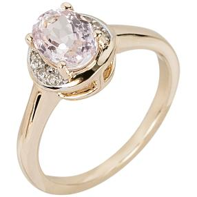 Ring 375 Gelbgold, Kunzit + Zirkon
