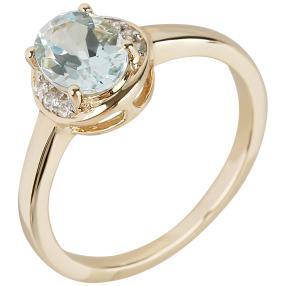 Ring 375 Gelbgold, Aquamarin + Zirkon