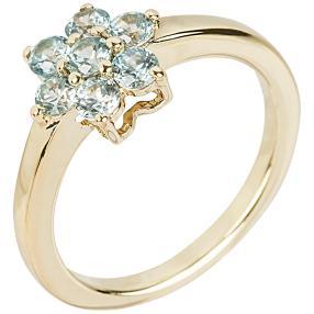 Ring 925 Silber vergoldet, Zirkon blau