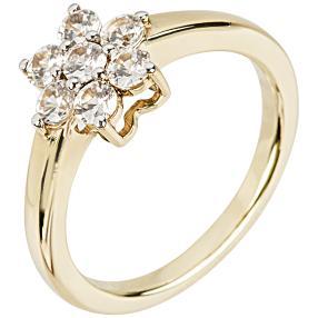 Ring 925 Sterling Silber vergoldet, Zirkon weiß