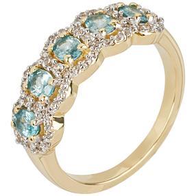 Ring 925 Sterling Silber vergoldet Zirkon blau