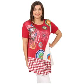Damen-Shirt 'Elisa' rot/multicolor