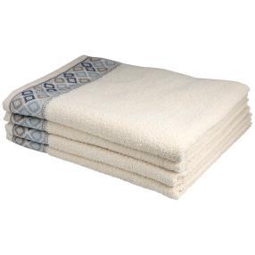 Handtuch mit Bordüre, 4er-Set, creme, 50x100cm