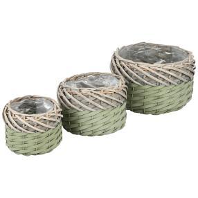 Pflanzübertöpfe Weide, 3er-Set, oliv