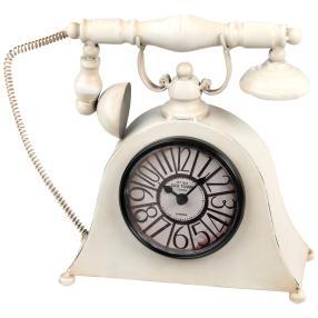 Tischuhr Telefon, creme, Eisen