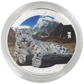 Silbermünze Schneeleopard