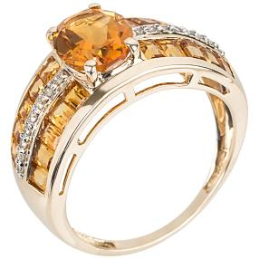Ring 585 Gelbgold, Madeira Citrin + Diamant