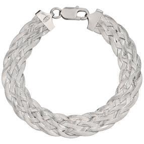 Armband 925 Silber rhodiniert, geflochten
