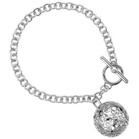 Armband rhodiniert Messing, Diamant