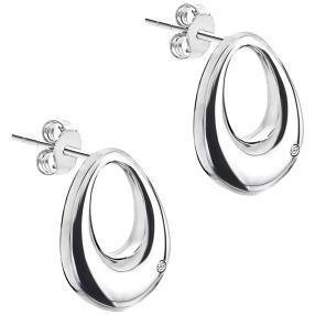 Ohrhänger rhodiniert Messing, Diamanten