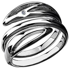 Ring rhodiniert Messsing, Diamant