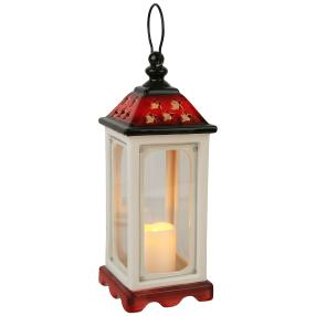 LED-Keramiklaterne 30cm, weiß-rot