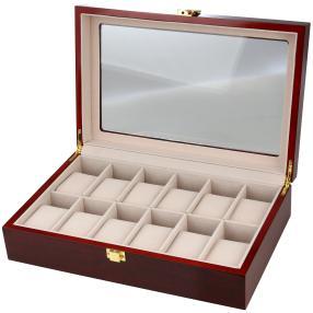 Uhrenbox für 12 Uhren, Mahagoniholz-Optik