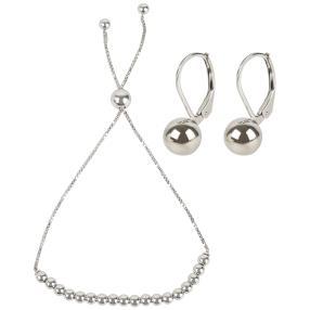 Set 2 teilg 925 Silber rhodinier Armband+Ohrhänger