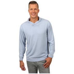 Cashmerelike Herren-Pullover Schalkragen hellblau